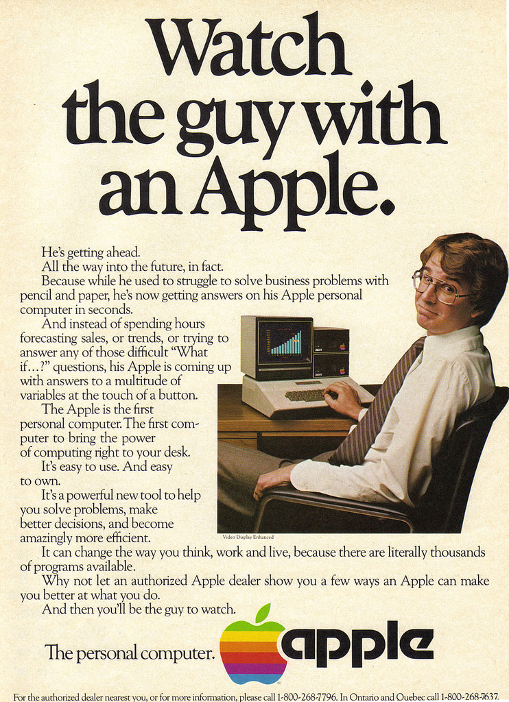 A 1993 apple ad says watch a man with an apple and features a white man typing