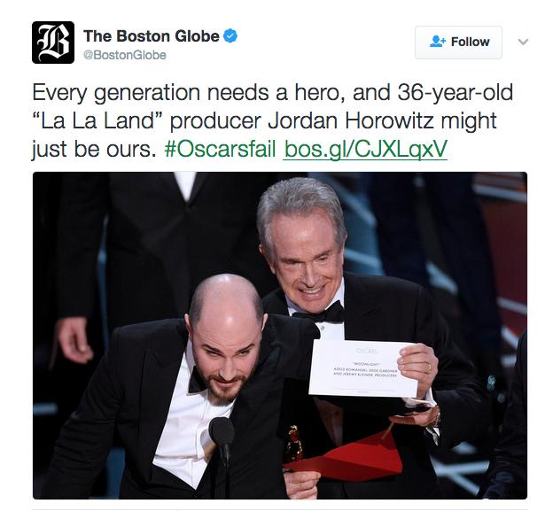 "screeshot of Boston Globe tweet calling La La Land producer a ""hero"""