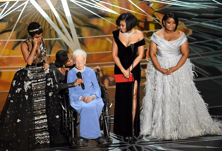 the real-life Katherine Johnson is honored onstage at the Oscars