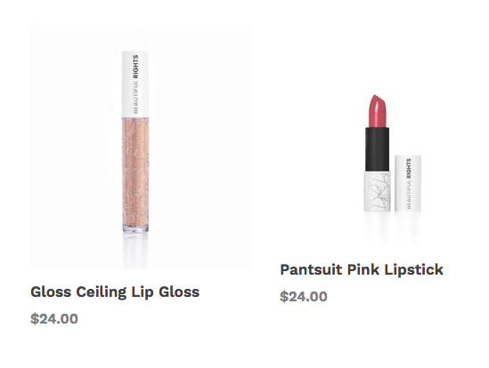 photo of lip gloss, left, and lipstick