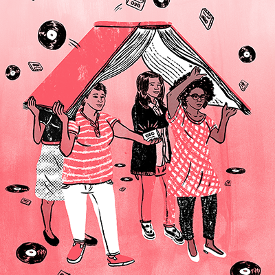 Illustration of women sheltered by book umbrella, under rain of cassettes and records