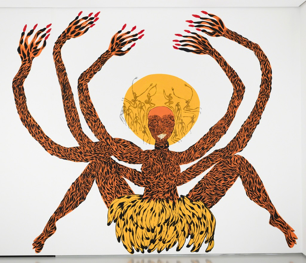 a painting of a multi-limbed female figure in yellow and black