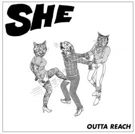 The cover of the Outta Reach EP: a cartoon of two stylishly dressed female cats, one of which is kicking a high-heeled foot straight into a male dog's crotch.