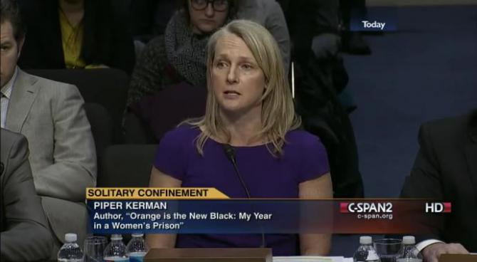 piper kerman in front of the senate