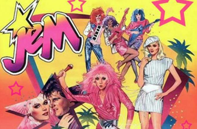 an illustrated promo for Jem, full of 80s colors and neon