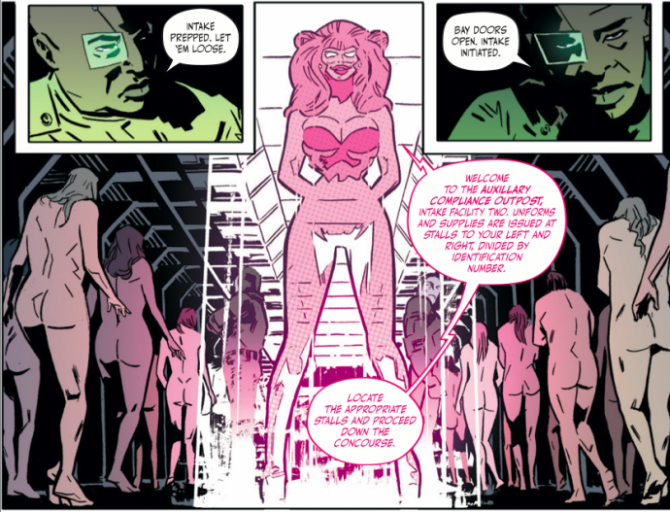 part of the shower scene from the first issue of bitch planet