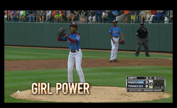 "A still form ABC news with the tagline ""girl power!"""