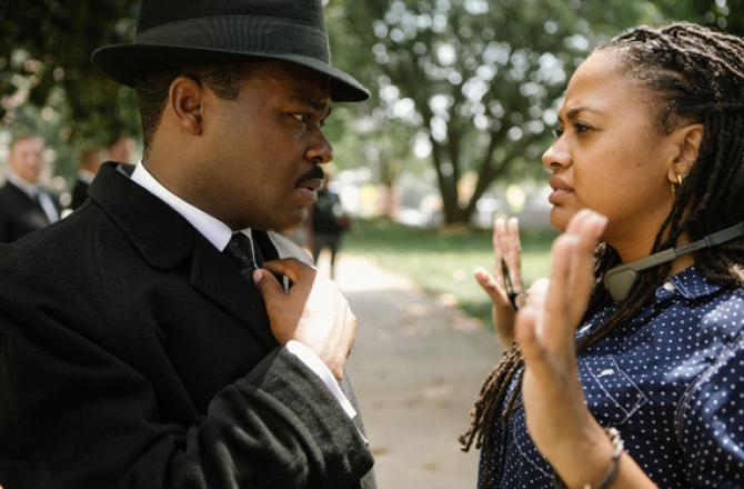 ava duvernay on set directing an actor's movments