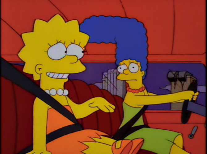 lisa and marge ride in a car