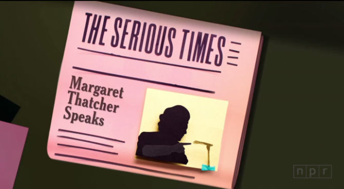 a still from the video has a picture of margaret thatcher