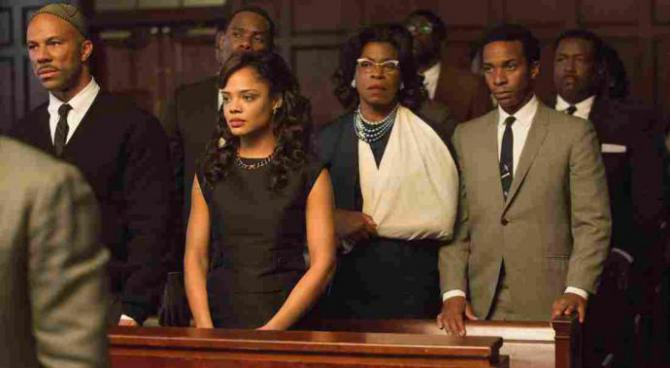 four characters in a courtroom scene in Selma