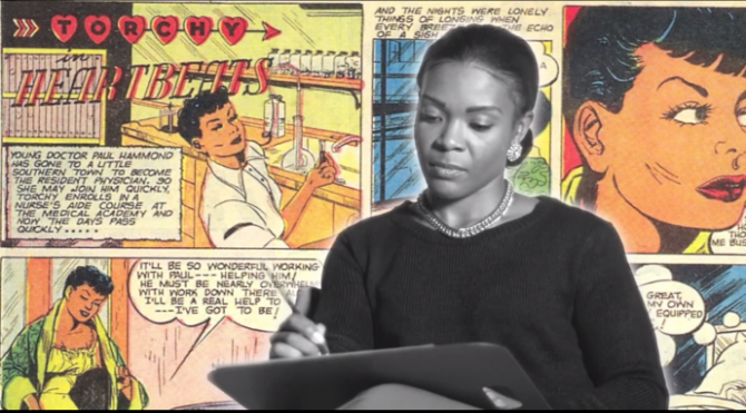a woman drawing in front of a backdrop of vintage romance comics