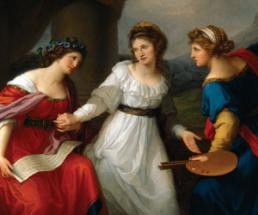 a painting of three white women holding scrolls and paintbrushes