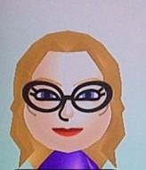 a Mii of Penelope Garcia, a light-skinned blond woman with black glasses