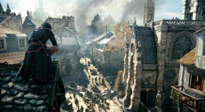 Male character in Assassin's Creed: Unity looking over a town in 1800s Paris
