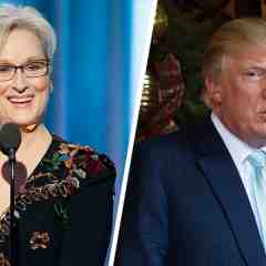 Meryl Streep at the Golden Globes, left, and Donald Trump