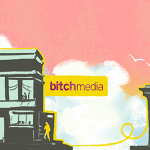 An illustration of Bitch Media headquarters on a busy street.