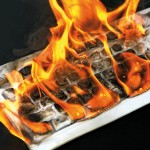 a computer keyboard on fire
