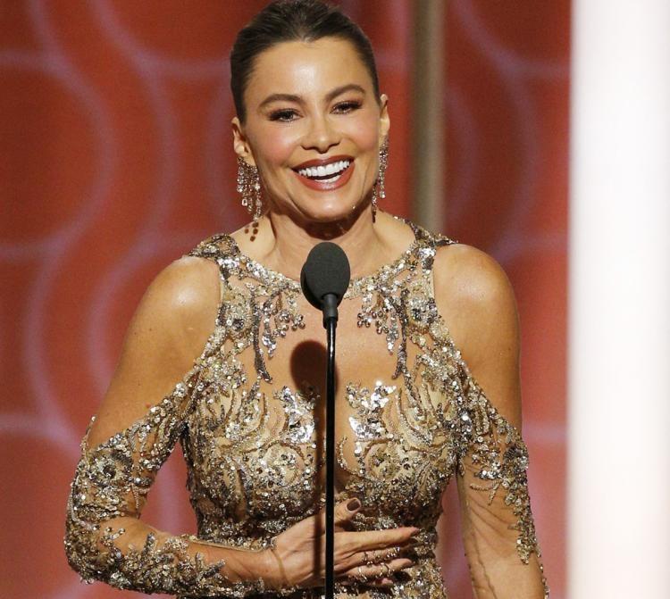 Sofia Vergara at the Golden Globes podiu,