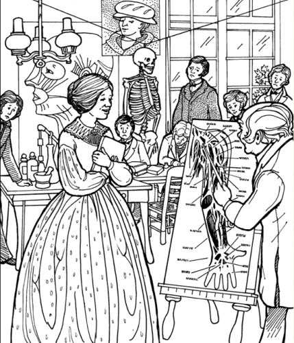black and white illustration of Blackwell teaching anatomy to a group of students. There are hidden objects in the background.