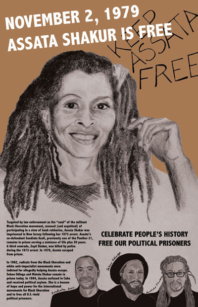 a poster declaring assata is free