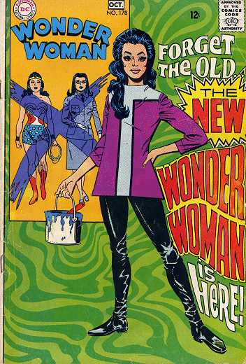 "a comic book cover reads: ""forget the old woman wonder"" and features diana price wearing a hip dress"