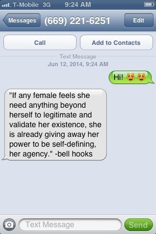 a text exchange returns an automatic bell hooks quote
