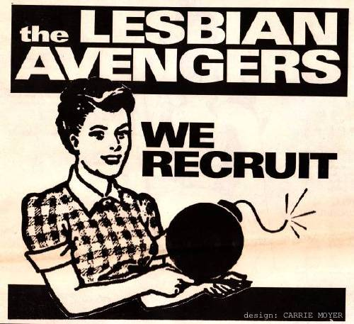 a flyer from the lesbian avengers has a retro waitress saying: we recruit