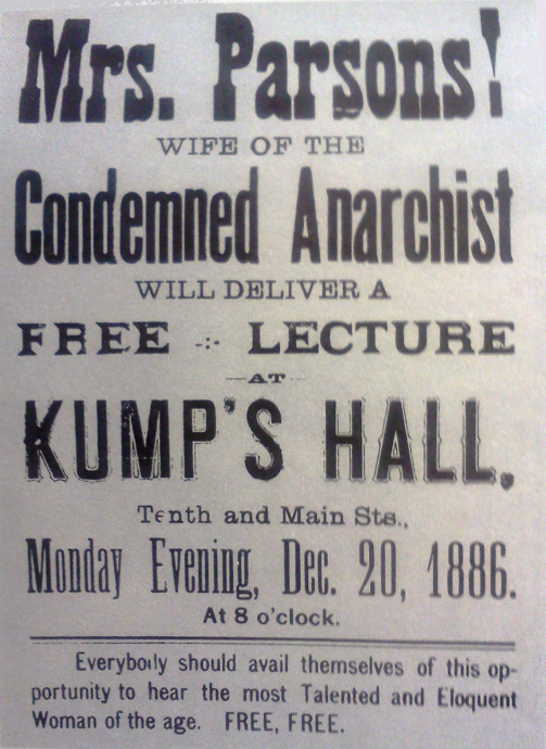a flier calling for the arrest of lucy parsons