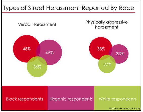 chart showing a racial breakdown of street harassment