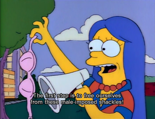 young marge protests by throwing away her bra
