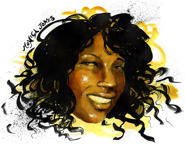 An illustration of monica jones by molly crabapple