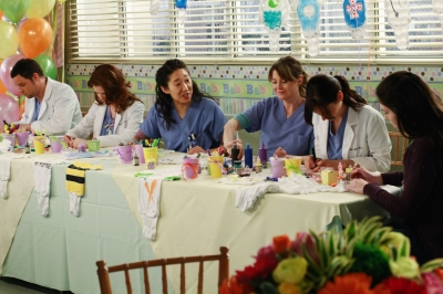 The Seattle Grace doctors at a baby shower.