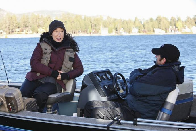 Derek and Cristina in a fishing boat.