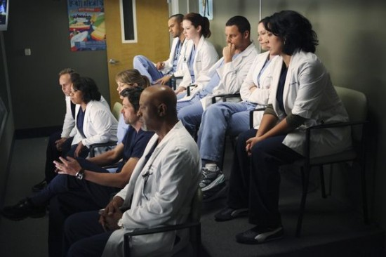 Most of the staff at Seattle Grace, in an observation room above an OR.