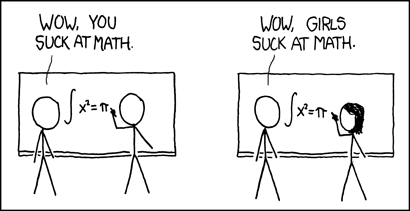 Comic strip with two panels. In the first, two stick figures do a math equation and one says to the other, 'You suck at math.' In the second panel, one of the stick figures is a female and the caption reads, 'Girls suck at math.'