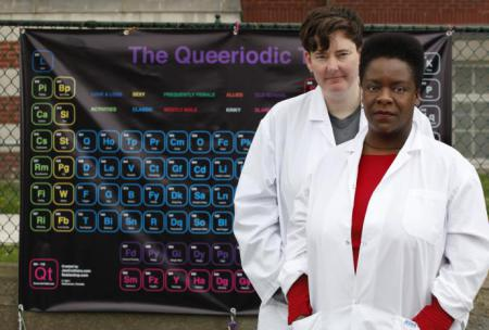 two women in lab coats, one white one black, stand in front of a black banner that reads 'queeriodic table' in purple